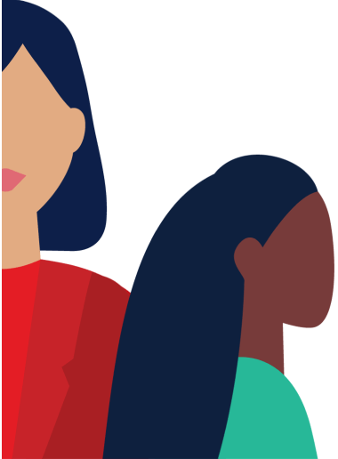 Illustration of 2 ladies on the left side of the screen