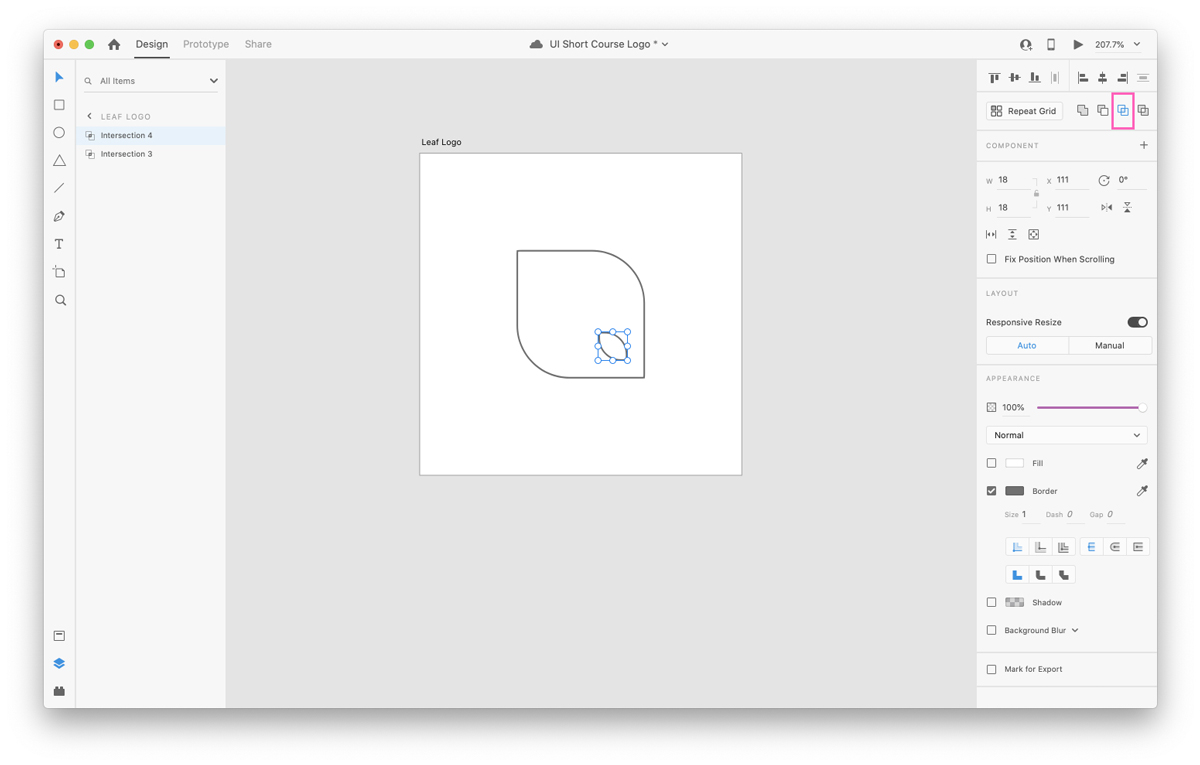 Positioning shapes in Adobe XD