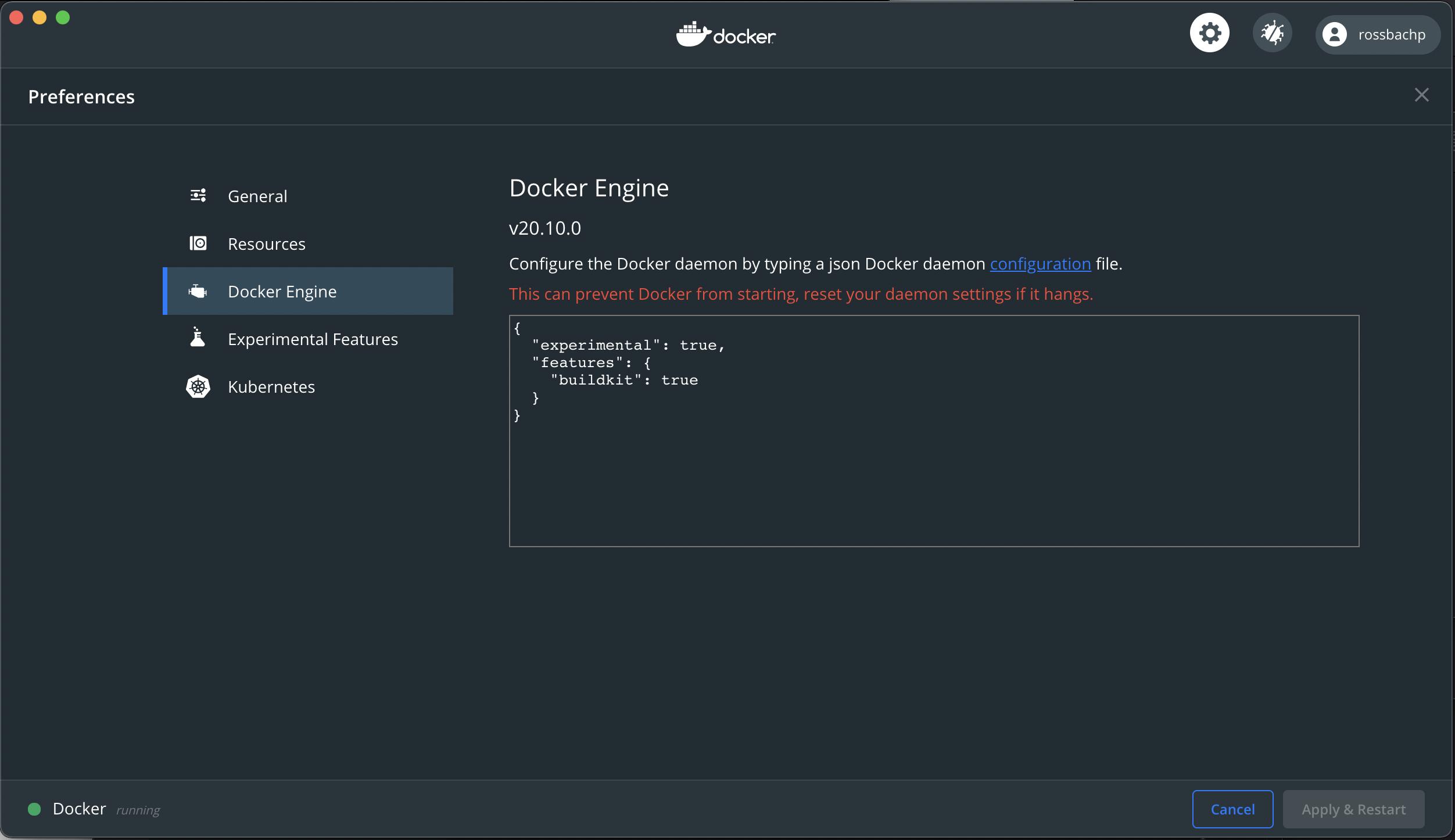 Docker for Desktop Preference