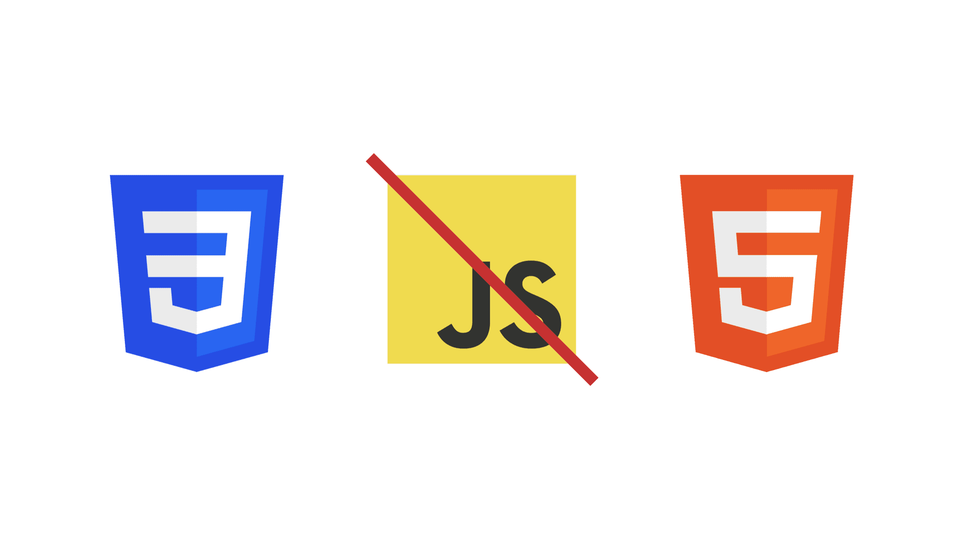 Three logos in a row, from left to right, the CSS 3 logo, JavaScript logo with a red diagonal line through it and the HTML 5 logo