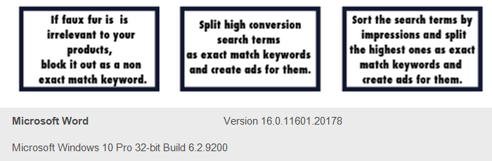Example of keyword matchtype splitting