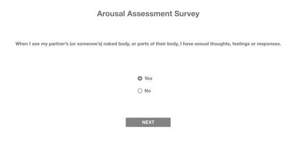 Arousal Architecture question page wireframe