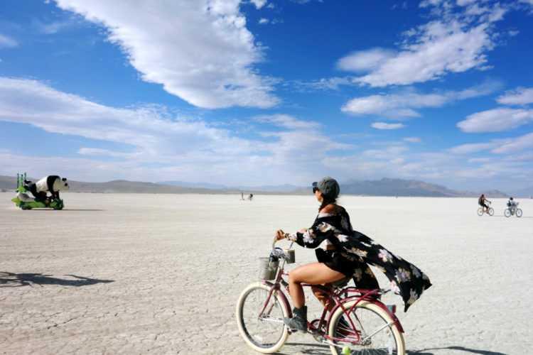 Burning Man Woman on Bike