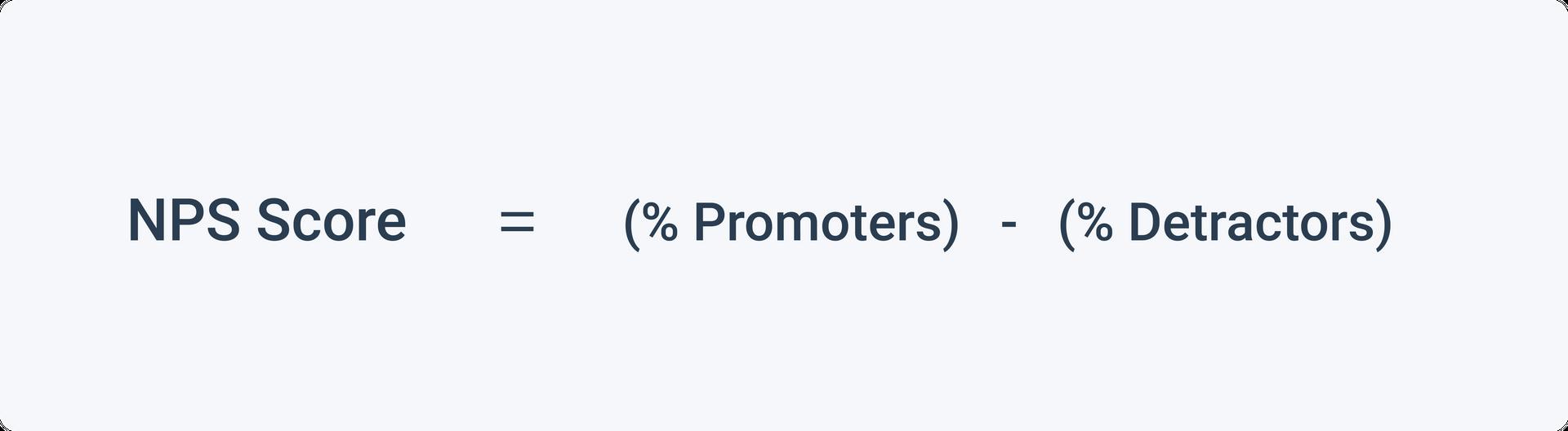 NPS formula: (% Promoters) - (% Detractors) = NPS