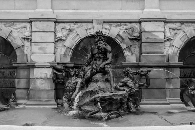The fountain in front of the Library of Congress' original building.