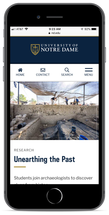 Notre Dame homepage as viewed on an iPhone 8