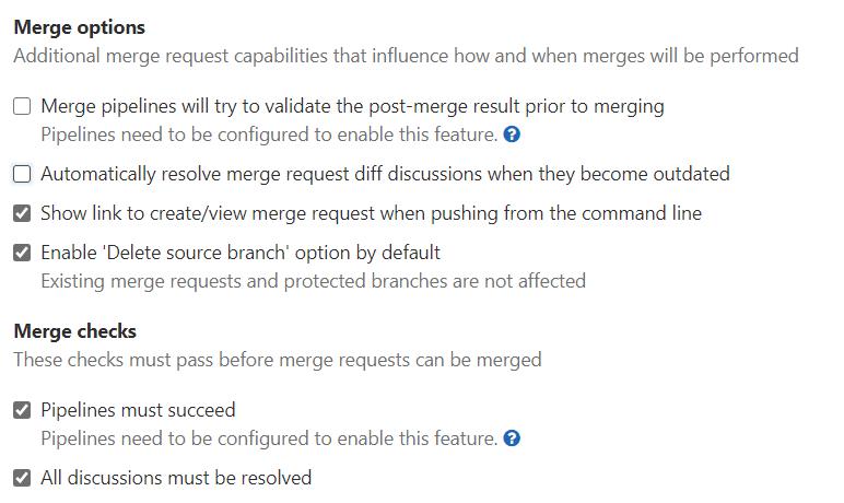 GitLab merge options and check