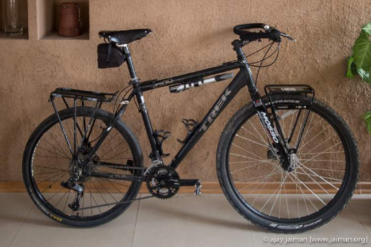 Trek 4300 modified for Himalayan touring. Nothing on this bike, other than the frame and seat post, is original.