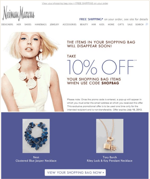 Neiman marcus abandoned cart email