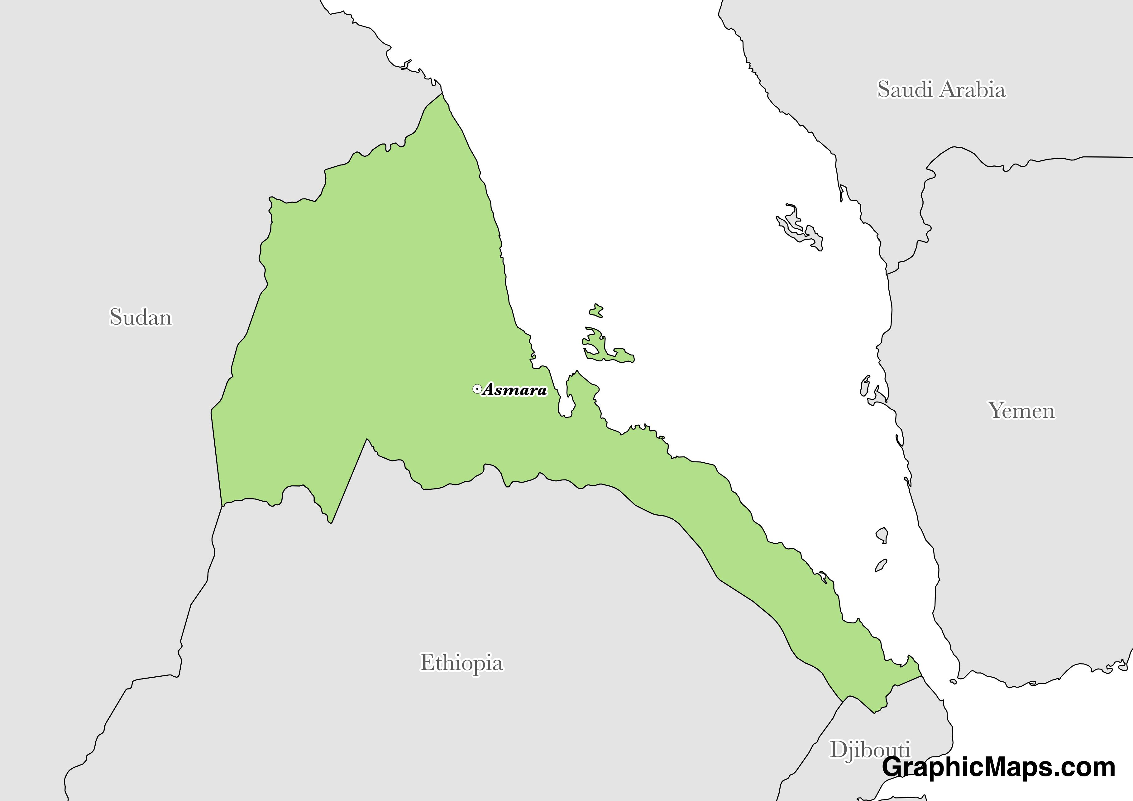 Map showing the location of Eritrea
