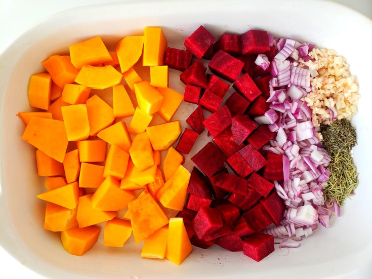 Raw butternut squash, beets, onion, spices