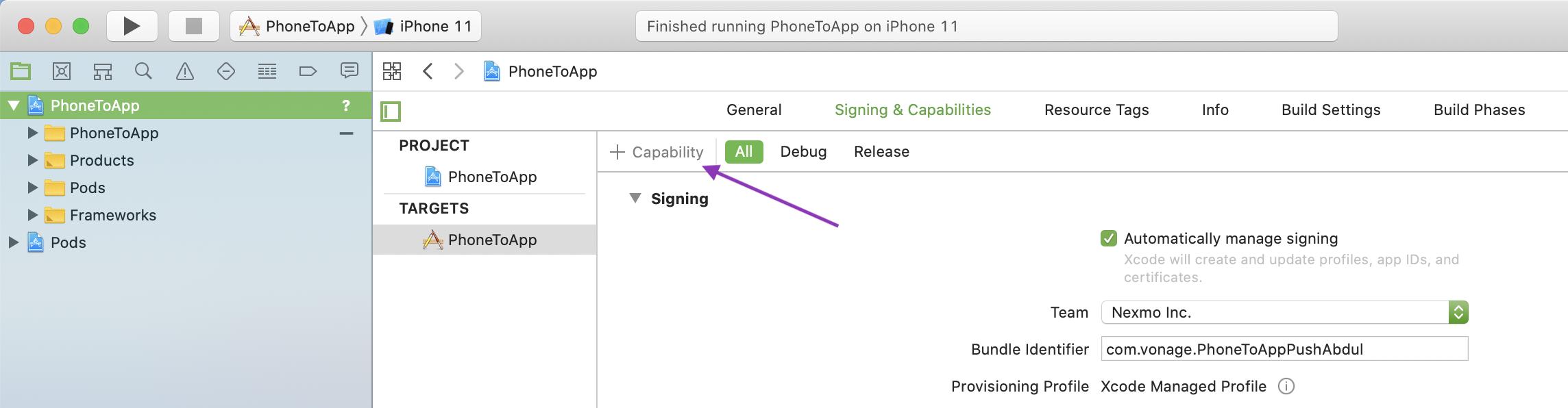 Add capability button