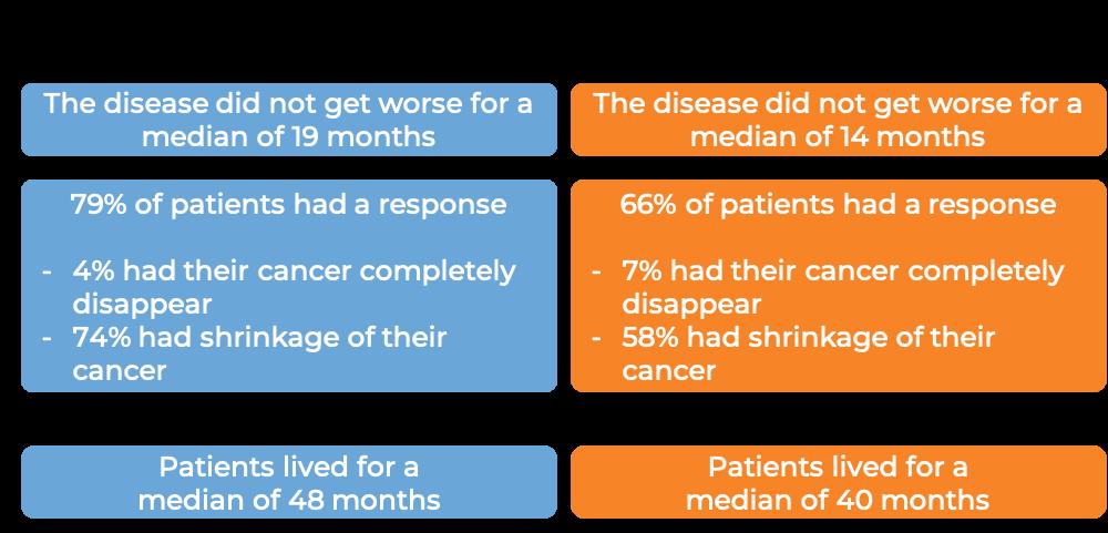 Results after treatment with Empliciti + lenalidomide and dexamethasone vs just lenalidomide and dexamethsasone (diagram)