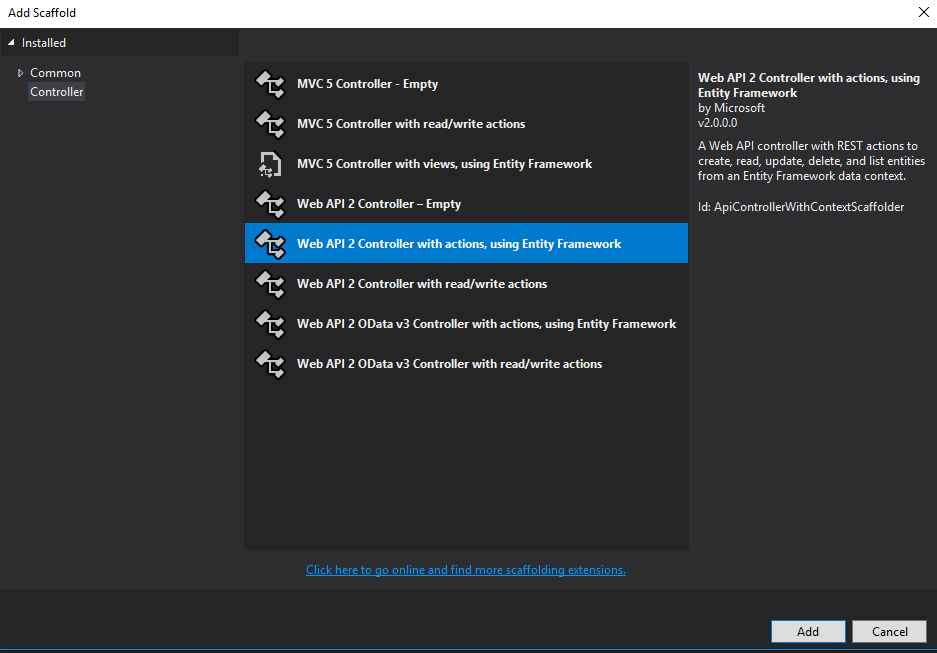 Visual Studio new controller dialog