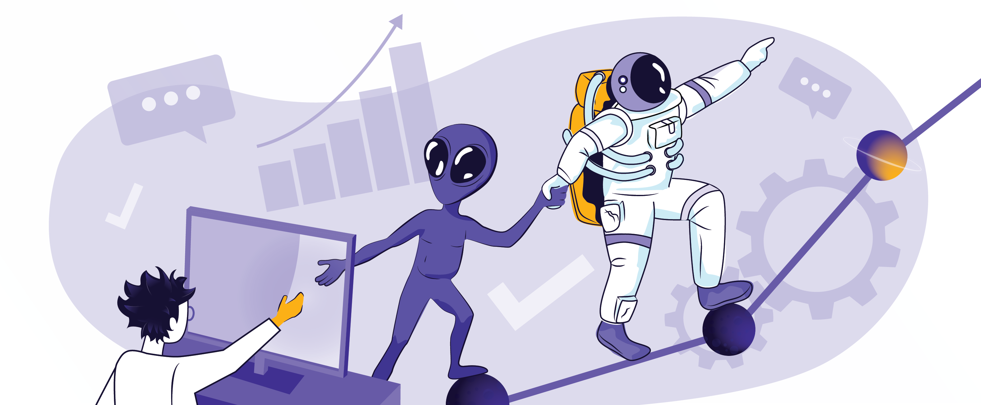 illustration of a blog post: Overcoming Remote Work Roadblocks, The Galactic Fed Way
