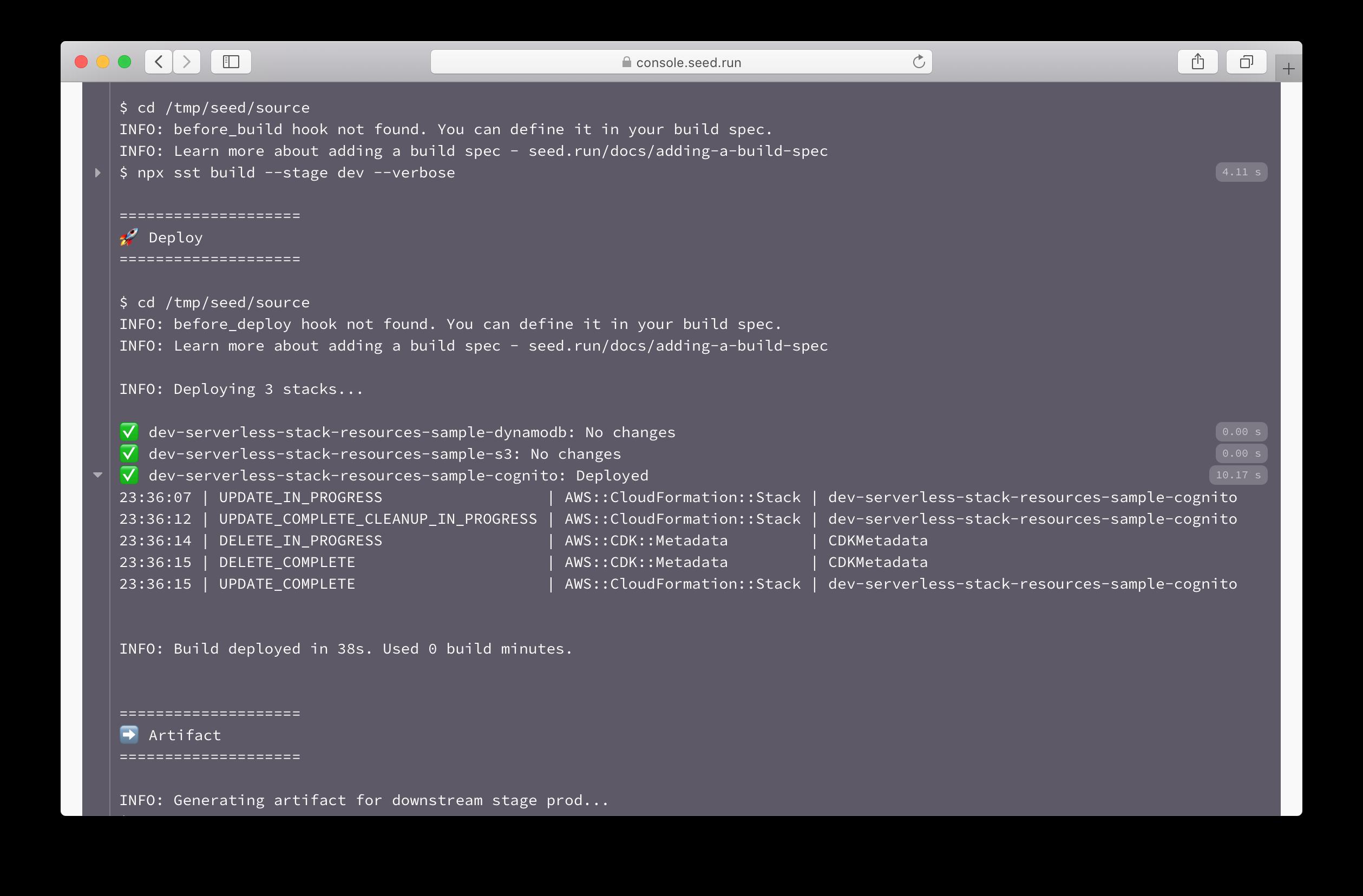 SST build log in Seed