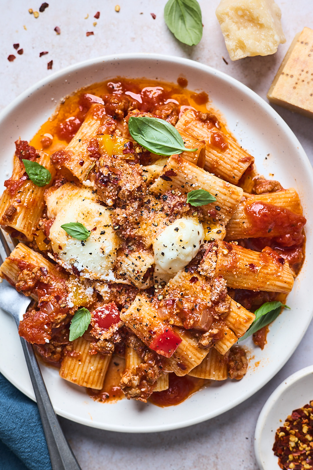 Easy Spicy Italian Sausage and Peppers Pasta Bake