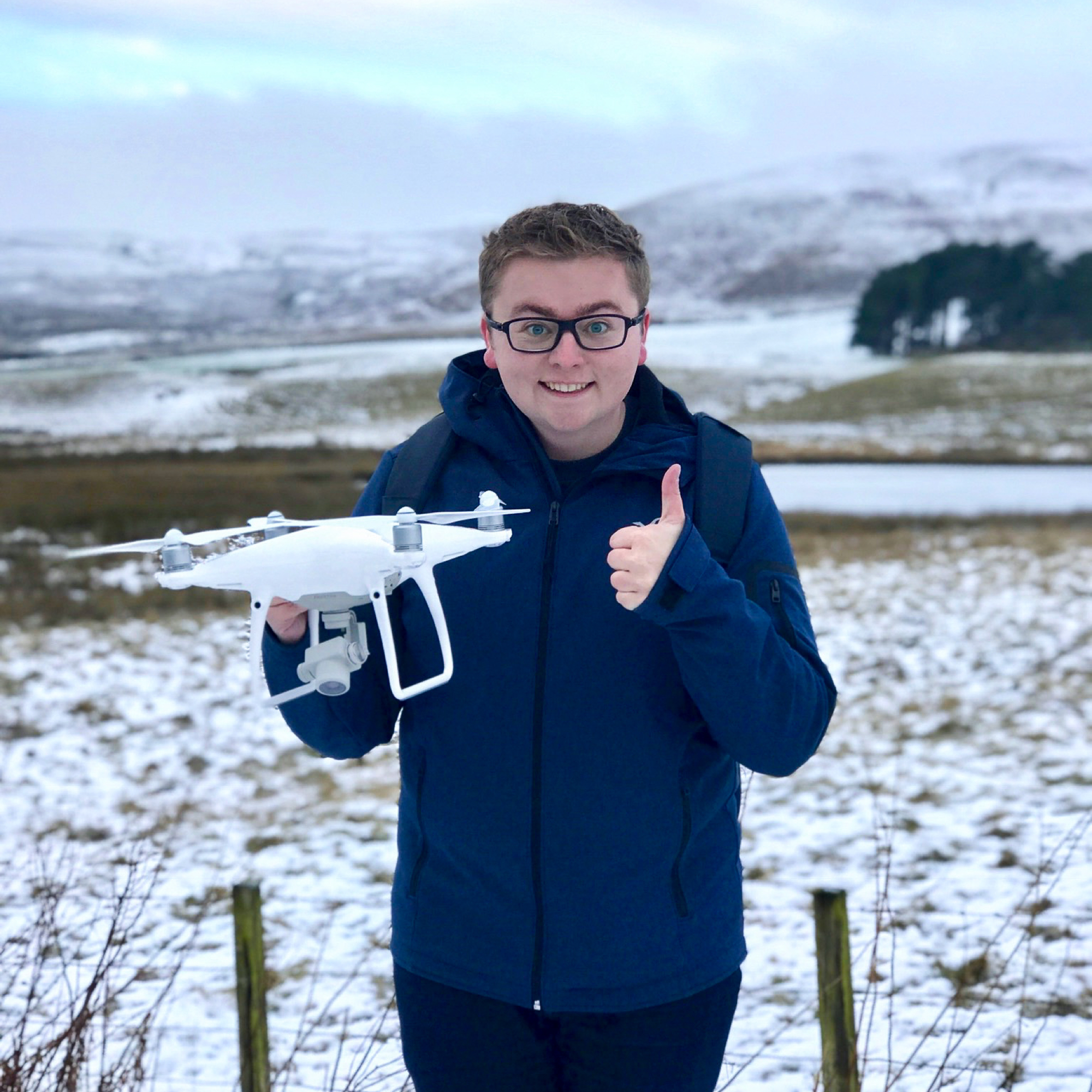 Jack Watkins trying out a drone in the snow