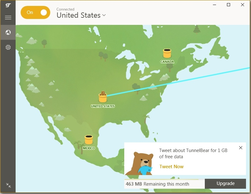 TunnelBear Tunnel to USA succesfully made
