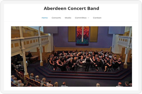 The nav and features section of the Aberdeen Concert Band website showcased on a tablet
