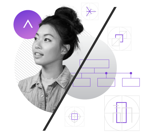 A composite graphic design of a photo of a woman, geometric line art, and the Adcetera logo