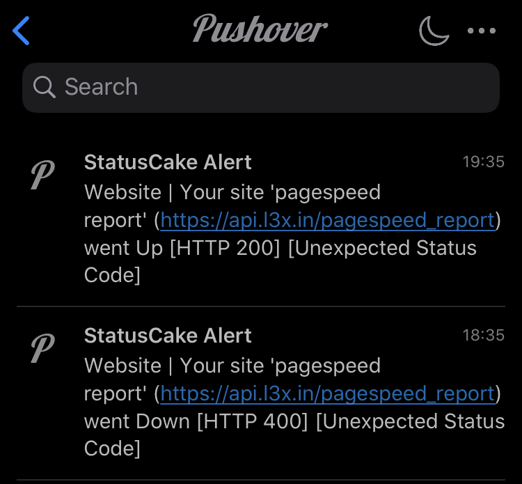 Screenshot of alerts sent via Pushover to an iPhone