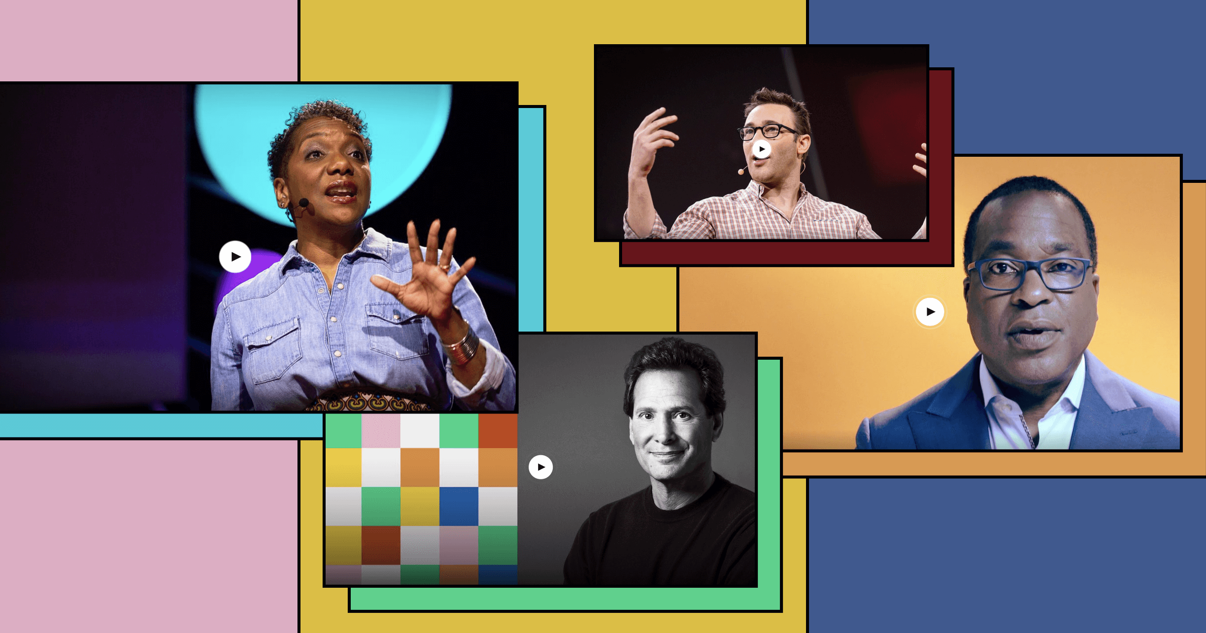 Four stills from TED Talks featuring the images of the speakers: Janet Stovall, Michael C. Bush, Dan Schulman, and Simon Sinek