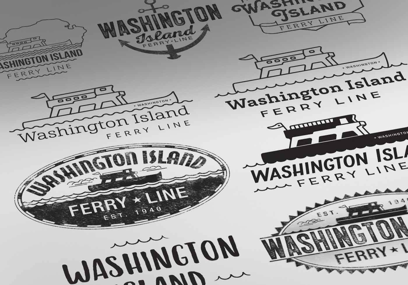 Washington Island Ferry logo design options