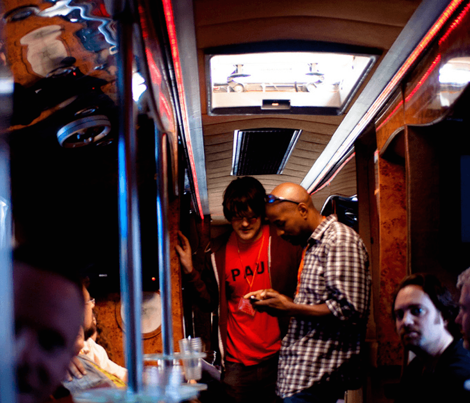 Paul and Randall on the Funconf bus