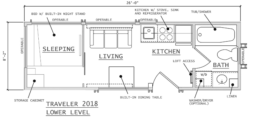 Escape's 26' traveler ground floor plan which shows a sleeping area which is a separate room containing a built-in night stand and cabinet.