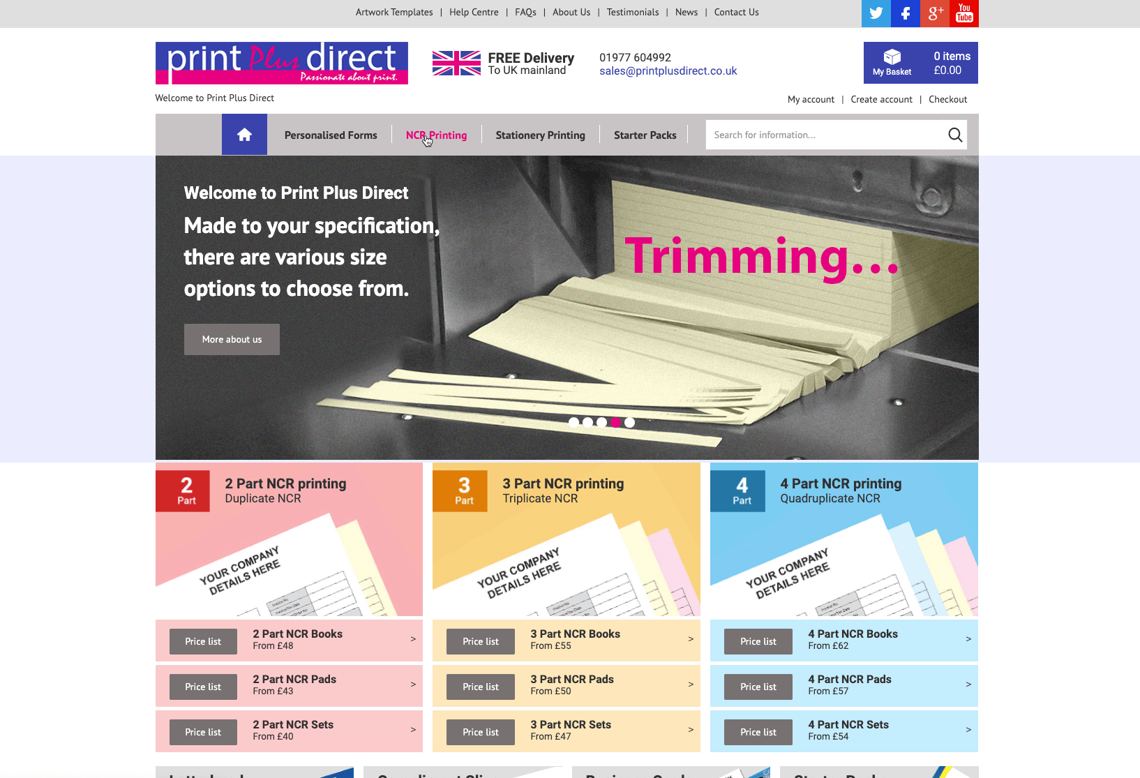 Screenshot of the Print Plus Direct website