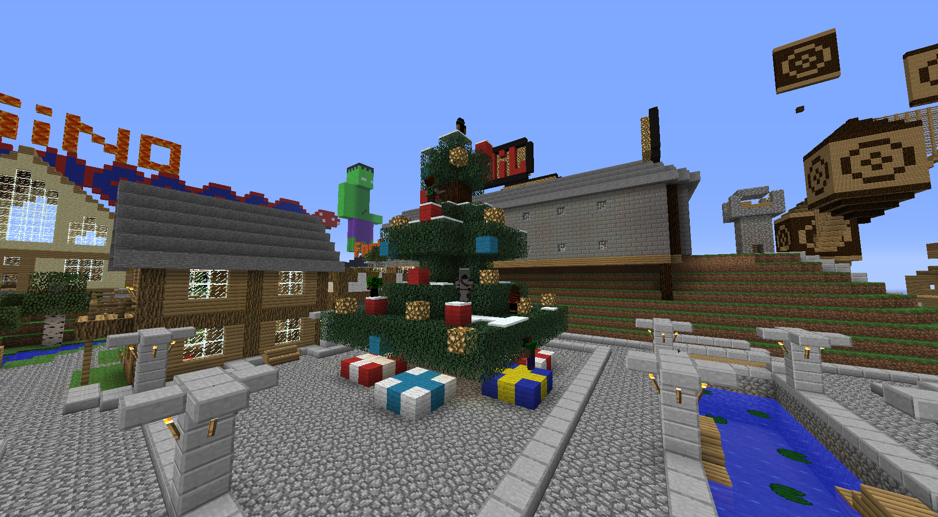A picture of a christmas tree from the minecraft server MuCraft year 2012