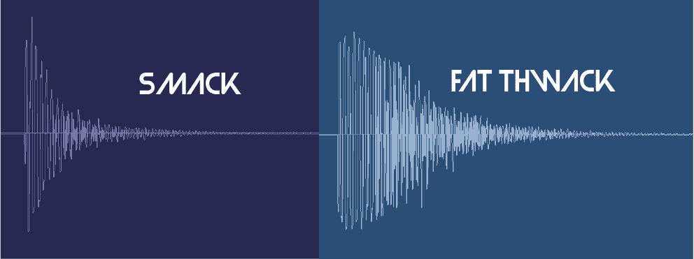 Picture of two audio waveforms, a regular snare and a compressed snare