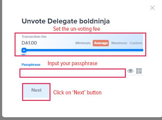 Un-voting modal