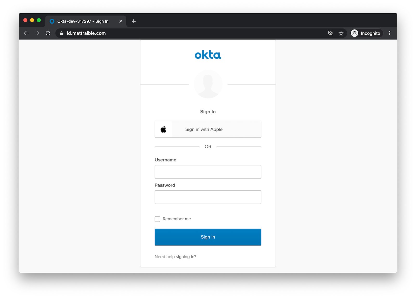 Okta widget with Sign in with Apple