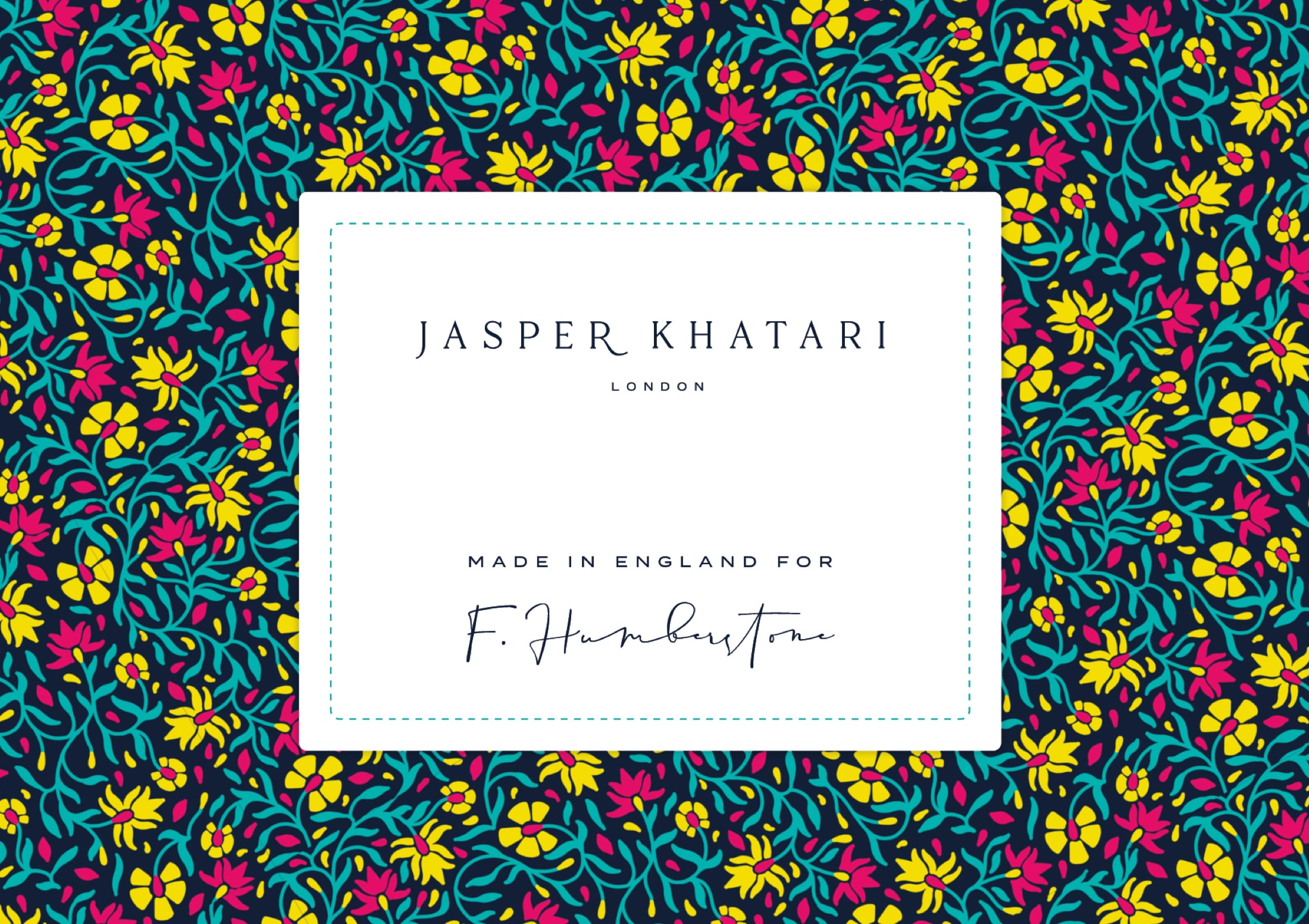 Woven label and pattern design for Savile Row tailor, Jasper Khatari