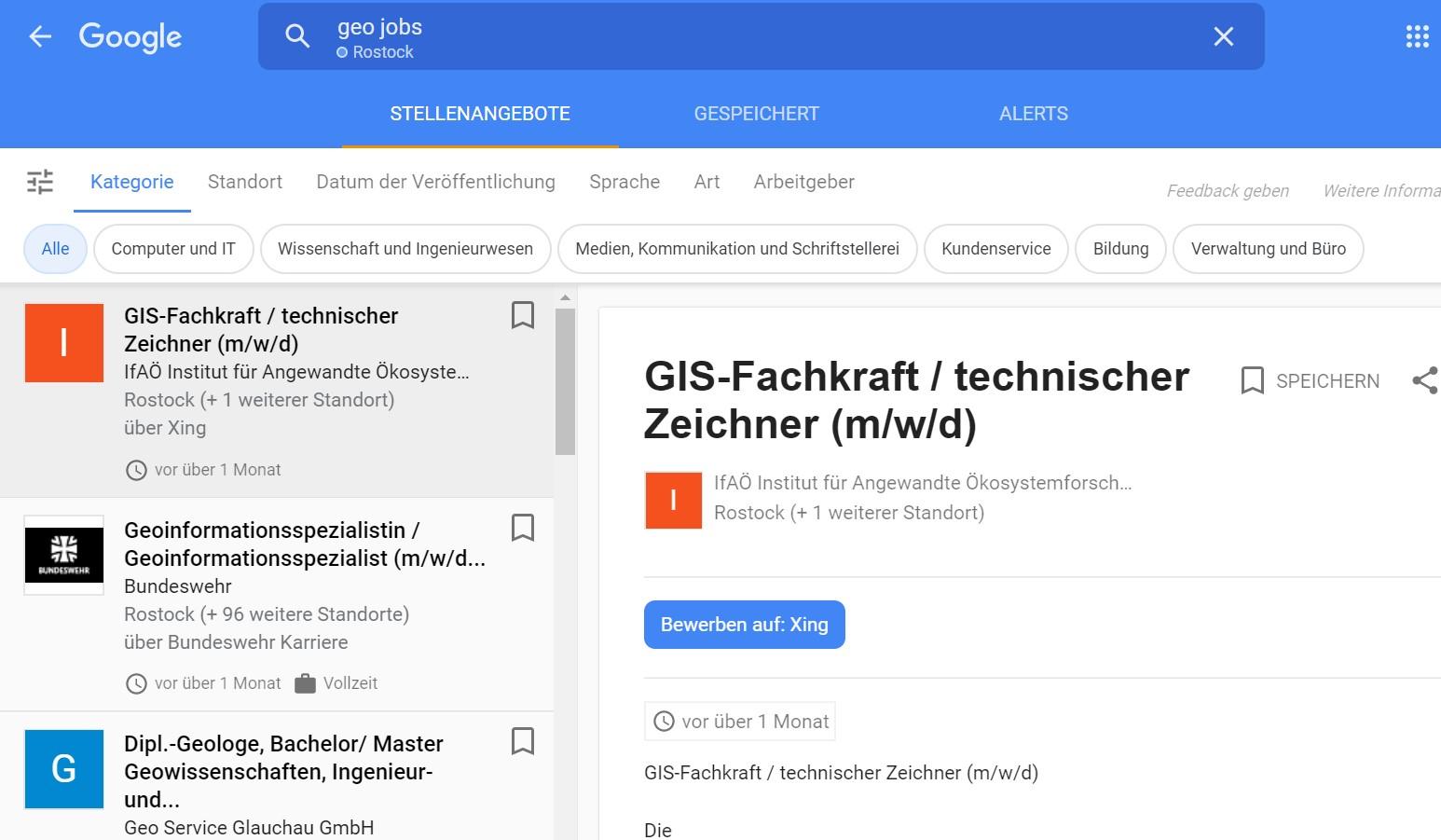 Screenshot der Google Jobsuche