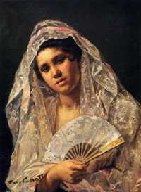 'Spanish Dancer Wearing a Lace Mantilla' by Mary Cassatt (1873)