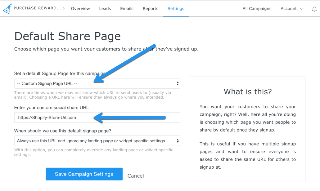 Set share URL to shopify store