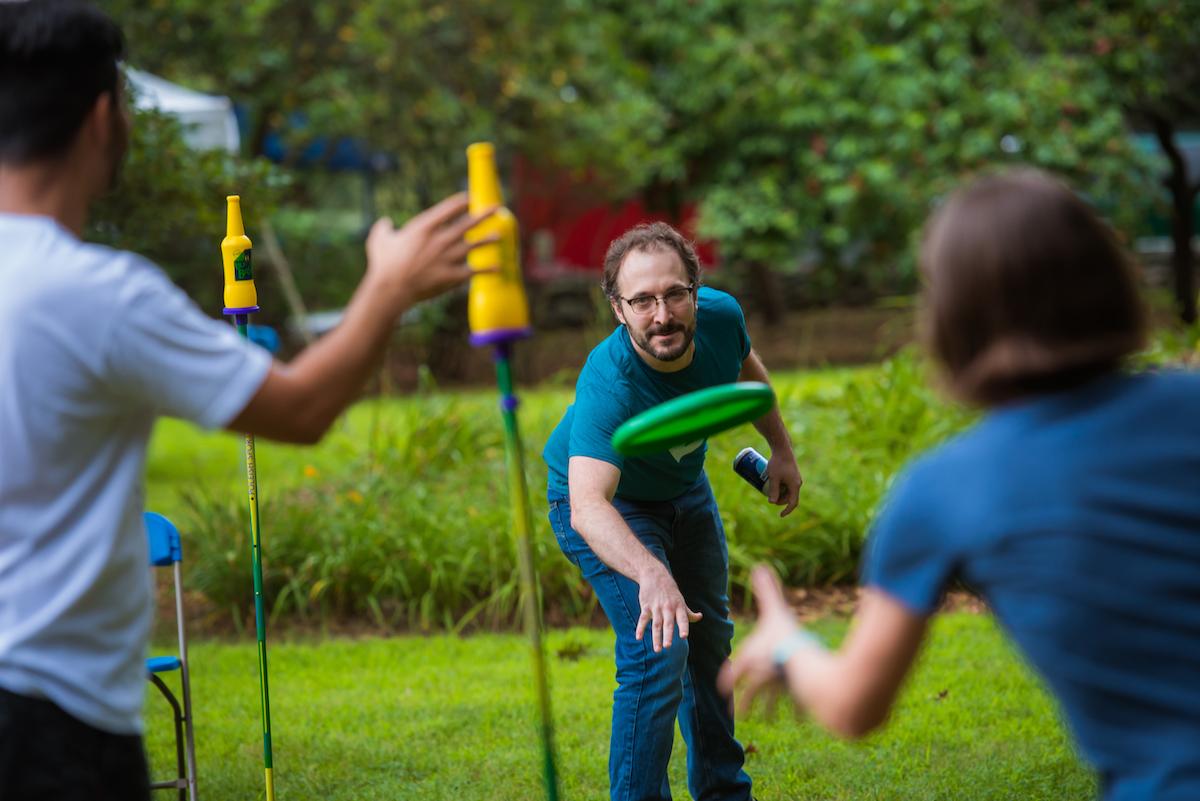 Craig B. throws a frisbee