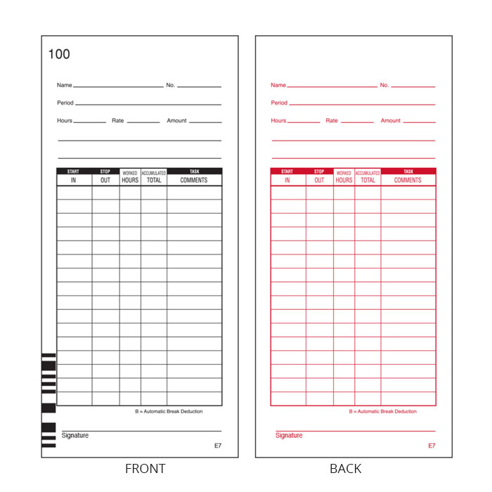 7500E Time Cards (7 in) - Pack of 100