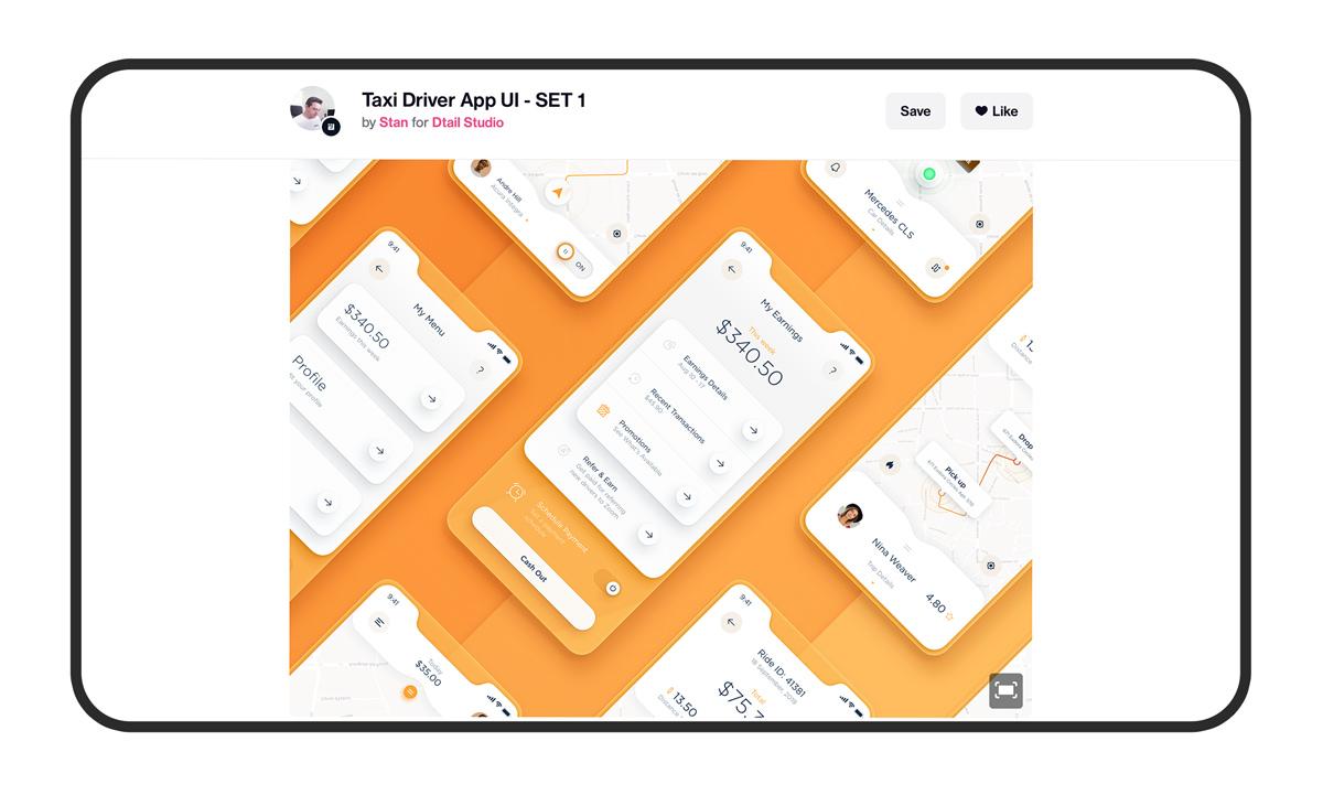 Display of UI sets on Dribbble