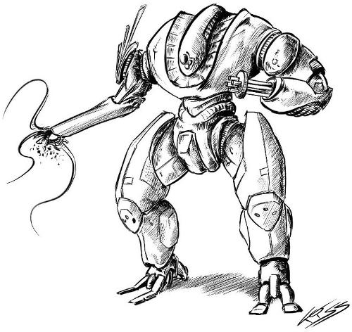 Robot with Chaingun Arm Sketch