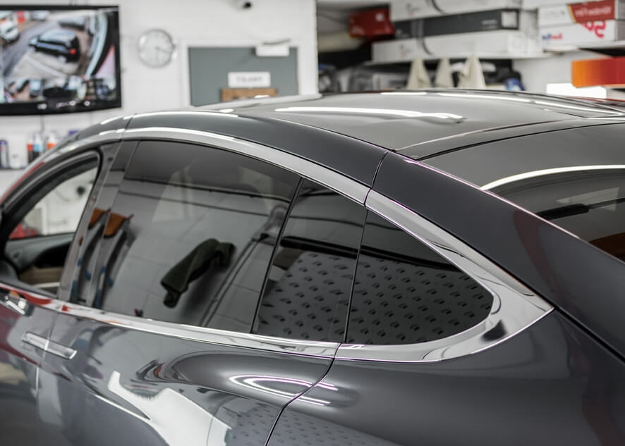 Tesla Model X before dechroming/chrome delete
