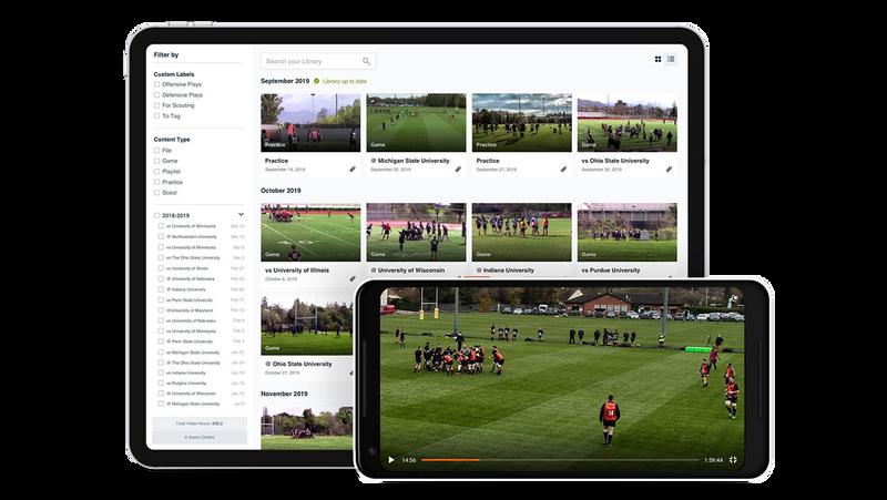 Hudl Rugby 映像ライブラリを映すタブレットとモバイルデバイス