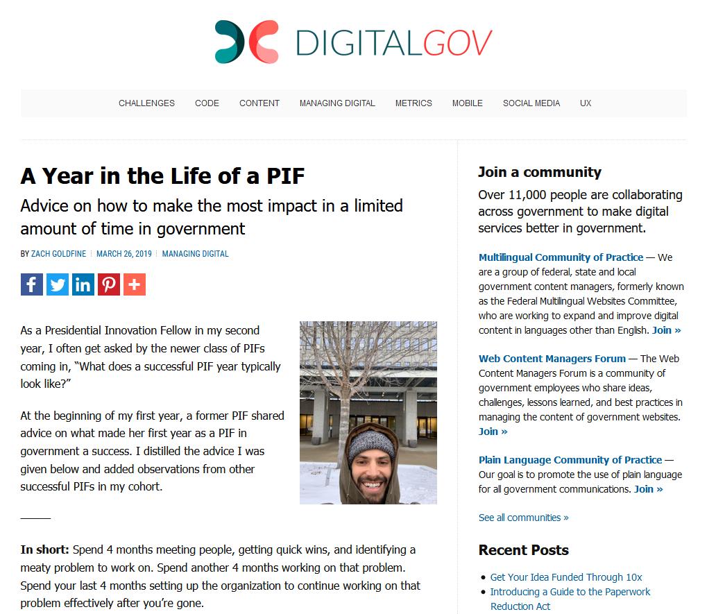 Capture d'écran du blog digital.gov