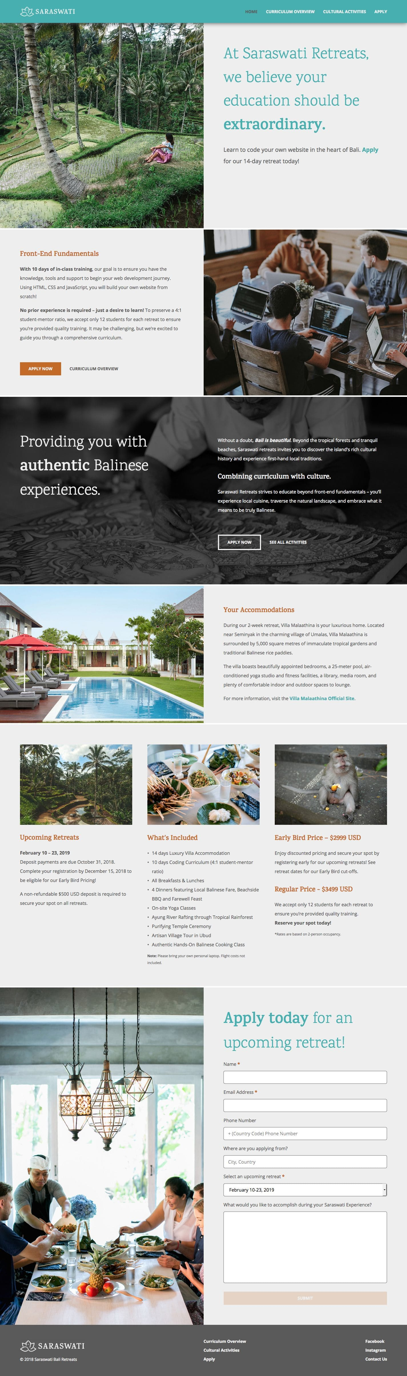 Screen capture of the Saraswati Bali Retreats homepage