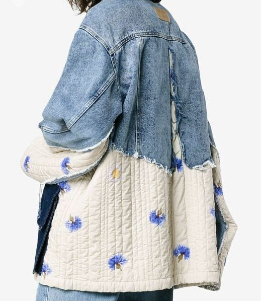 Veste en jean avec empiècements en tissu matelassé