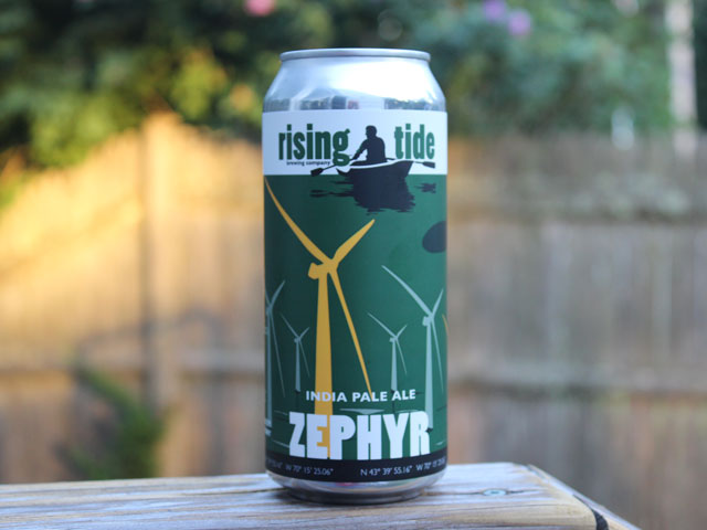 Zephyr, an India Pale Ale brewed by Rising Tide Brewing Company