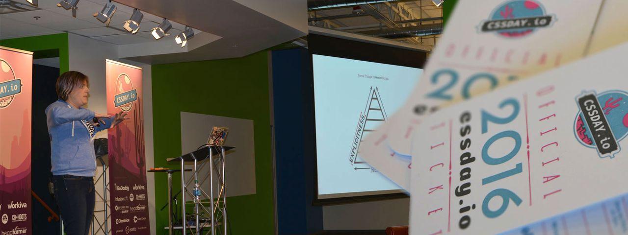 Miriam Suzanne speaking at CSSDay
